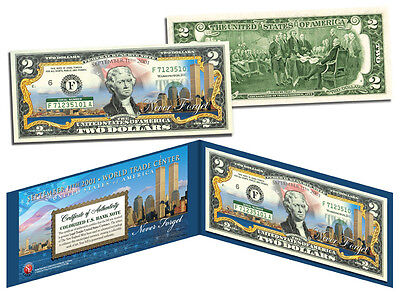 World Trade Center 9/11 Skyline COLORIZED Legal Tender $2 U.S. Bill *MUST SEE*