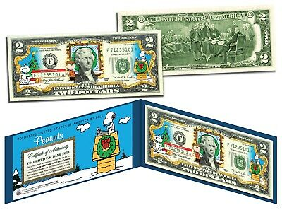PEANUTS * Charlie Brown & Snoopy * CHRISTMAS Colorized U.S. $2 Bill *LICENSED*