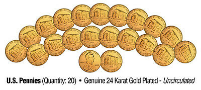 2009 Uncirculated 24K Gold LINCOLN BIRTHPLACE Bicentennial US Pennies -Lot of 20