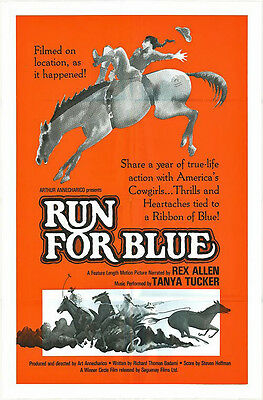 COWGIRLS/HORSES/RUN FOR BLUE original 1977 movie poster TANYA TUCKER/REX ALLEN