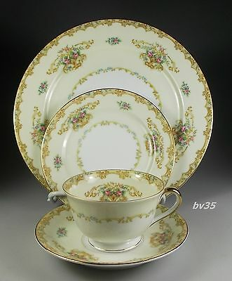 NORITAKE ACACIA 4 PIECE PLACE SETTINGS - dinner plate, bread plate cup & saucer