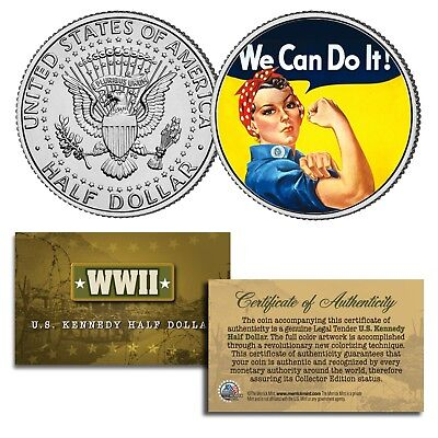 "ROSIE THE RIVETER Colorized JFK Half Dollar US Coin "" WE CAN DO IT "" Poster WWII"