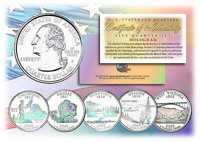2005 HOLOGRAM U.S. MINT STATE QUARTERS * Complete Set of 5 Coins * with Capsules