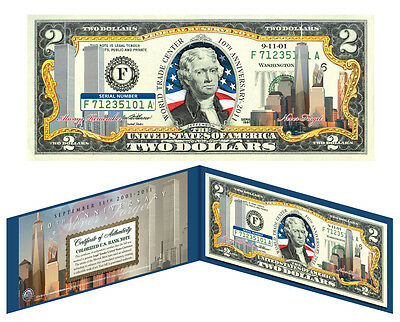 Freedom Tower WORLD TRADE CENTER 9/11 Colorized $2 U.S. Bill *10th Anniversary*