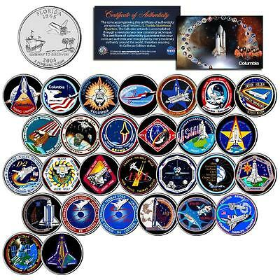 SPACE SHUTTLE COLUMBIA MISSIONS Colorized FL State Quarters US 28-Coin Set NASA