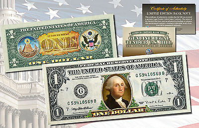 *MUST SEE* Genuine Legal Tender COLORIZED 2-Sided $1 One-Dollar U.S. Bill