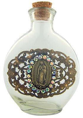 Our Lady of Guadalupe Vintage Medal on 6 Ounce Glass Holy Water Bottle Container
