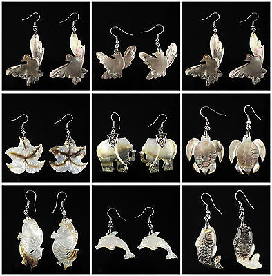 A6836 Gemstone pair carved shell earring,more shape & size to select