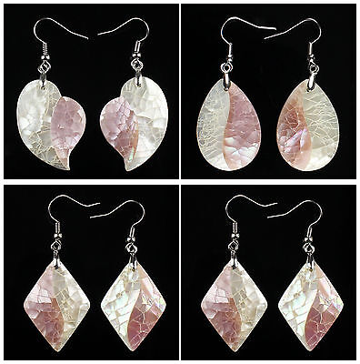 A6878 Pair intarsia white shell pink shell leaf earring,more shape to select