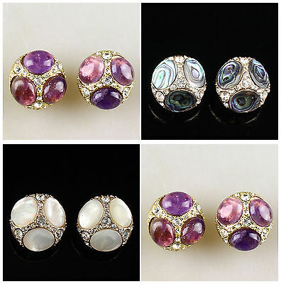 A6902 Gemstone pair purfle traffic circle earring,more material to select