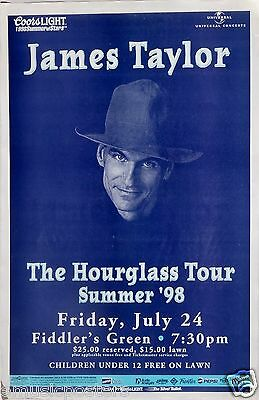 "JAMES TAYLOR ""THE HOURGLASS TOUR"" 1998 DENVER CONCERT POSTER - James Wearing Hat"