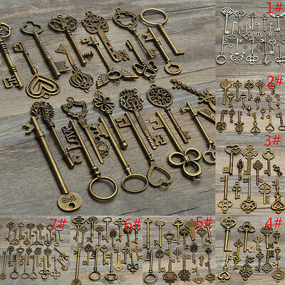 7 Assorted Antique Vintage Old Key Pendant Accessories Heart Bow Lock Steampunk