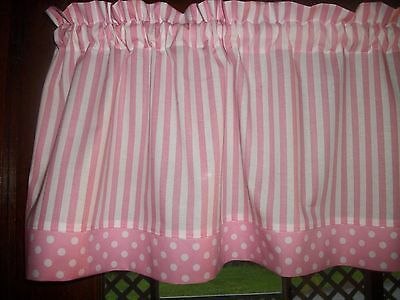 Pink White Stripe Polka Dot baby girl nursery waverly fabric curtain Valance