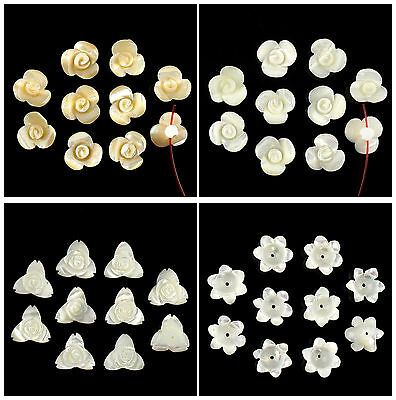 A7159 Ten carved gemstone shell flower pendant bead,more size to select