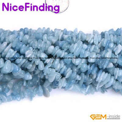 "Natural Stone Chips Beads Jewelry Making Necklace Bacelet Freeform 15""Aquamarin"