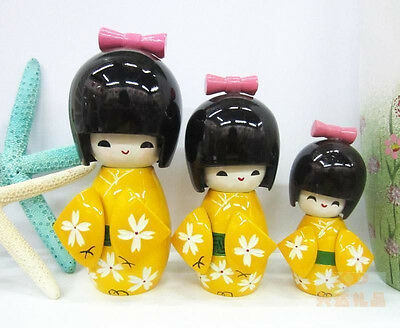 New Yellow 3Pcs Oriental Japanese Kokeshi wooden Dolls Girls Lady's Gift