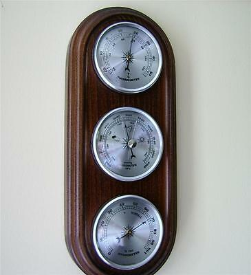 Weather Station Barometer Thermometer Hygrometer Silver Coloured Dials Gift New