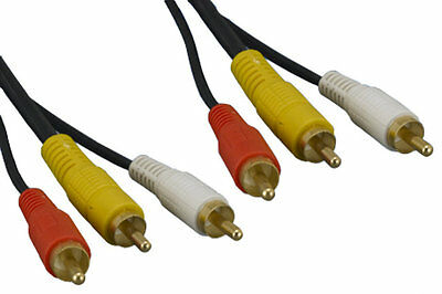 6FT-50FT RCA YRW Male M/M Yellow Red White Composite Video Stereo Audio AV Cable