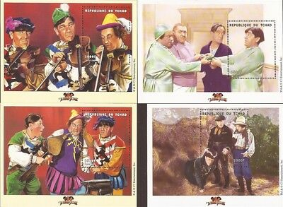 Chad - 2000 Three Stooges - Set of 4 Souvenir Sheets - 3B-342