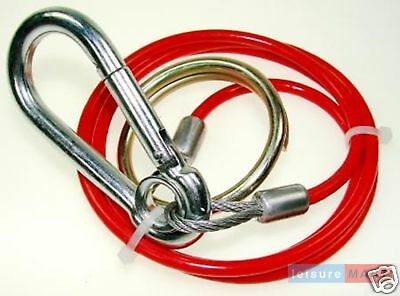 Trailer caravan 3mm breakaway cable Red with split ring 1m for braked trailers