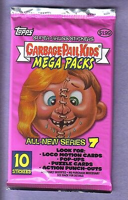 2007 Garbage Pail Kids  ANS7 Unopened Sticker Mega (10 Stickers) Pack - RARE