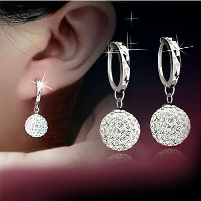 Fashion Women 18K White Gold Filled Crystal Rhinestone Hoop Earrings Jewelry New
