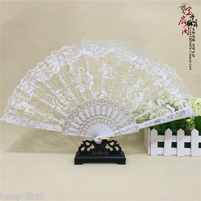 White lace Spanish Wedding Party Folding Dancing Hand Fan New ARRIVAL