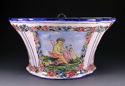 Antique French Faience Hand Painted Artist Signed Hanging Bough Pot