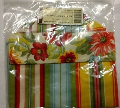 Longaberger Sunflower Stripe Fabric Wine Bag Beverage Tote liner mint in bag