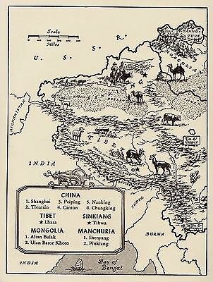 Charming CHINA Map Mongolia Map Tibet Fun and Funky Picture Map Of China 1666