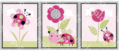"A set of 3 ""Lil Ladybugs with Polka Dots"" 8x10 Nursery Art Prints"