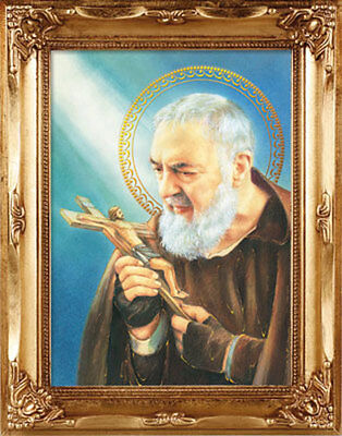 SAINT PADIO PIO GOLD FRAMED PICTURE CATHOLIC RELIGIOUS 100's OF ITEMS LISTED