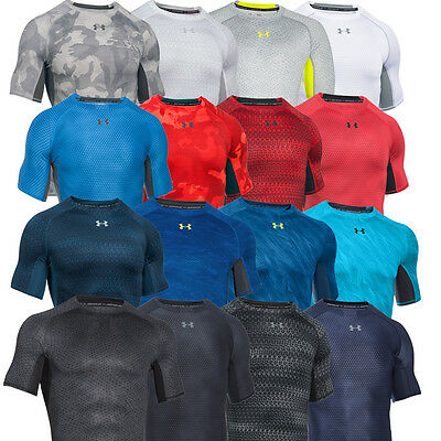 Under Armour Mens UA Armour Printed Compression Sports Gym Training Baselayer