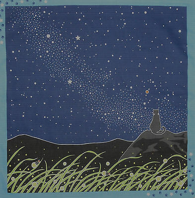 Japanese Furoshiki Wrapping Cloth Cat Fabric 'Tama & the Milky Way' Cotton 50cm