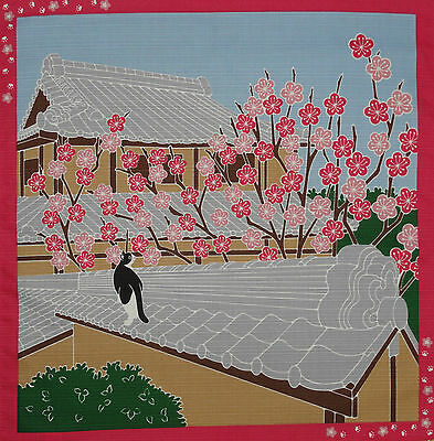 Furoshiki Wrapping Cloth Japanese Cat Fabric 'Tama & Plum Blossoms' Cotton 50cm