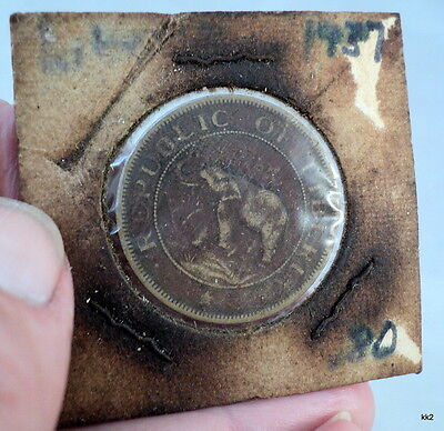 1937 Republic of Liberia Two Cents Coin Elephant Palm Tree - Estate Find