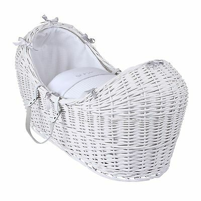 New Clair De Lune Silver Lining White Wicker Baby Moses Basket / Noah Pod
