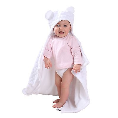 Clair De Lune Marshmallow White Teddy Bear Ears Hooded Pushchair Baby Blanket