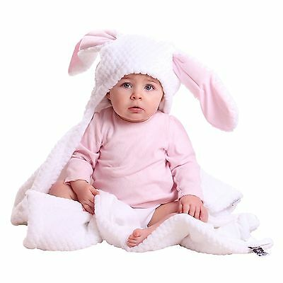 Clair De Lune Honeycomb White / Pink Bunny Ears Hooded Pushchair Baby Blanket