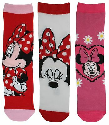 Disney Character 3 Pack Cotton Rich Socks Minnie Mouse