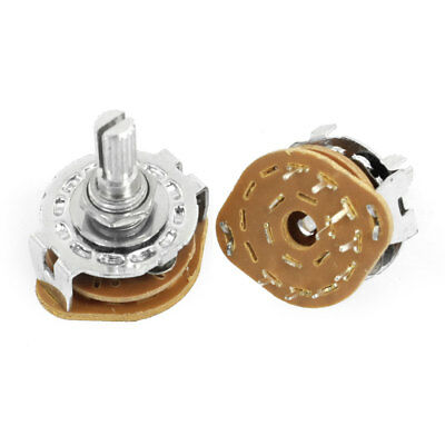 2 Pcs 1P8T 1 Pole 8 Position 6mm Knurled Shaft Dia Band Selector Rotary Switch