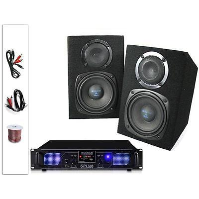 """Hi-Fi 5"""" Pair 200W Home Speakers Amplifier Stereo Set Sd Fm Tuner Mp3 Usb Amp"""
