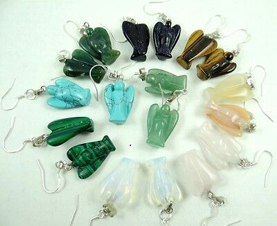 Pair Of Hand Carved GUARDIAN ANGEL Mixed agate pendant 925 silver Earrings  AAA5