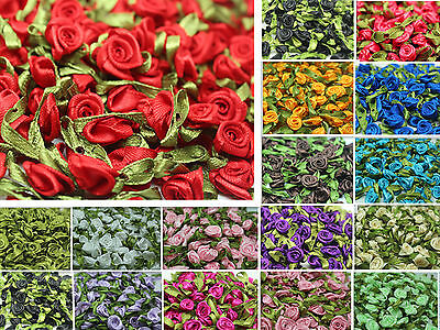 DIY 50/100pcs Satin Ribbon Rose Flower Craft Wedding Appliques12mm Decoration