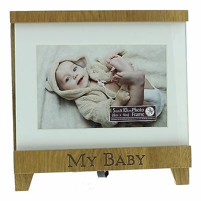 New View White & Wood Trim Easel Shaped Picture Photo Frame 'My Baby'