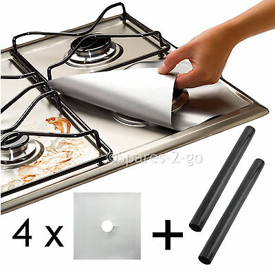 4 x UNIVERSAL Teflon Gas Hob Silver Protector & 2 x Heavy Duty Oven Cooker Liner
