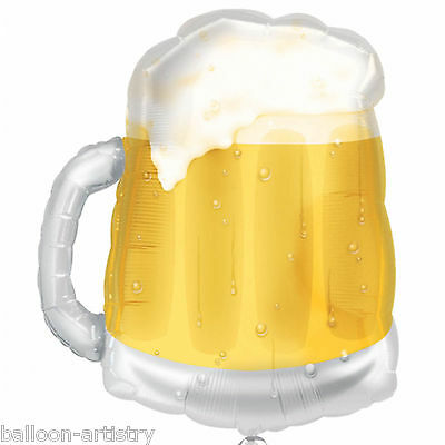 "23"" Summer Beer Mug Pint Glass Birthday Party Clear Foil Supershape Balloon"