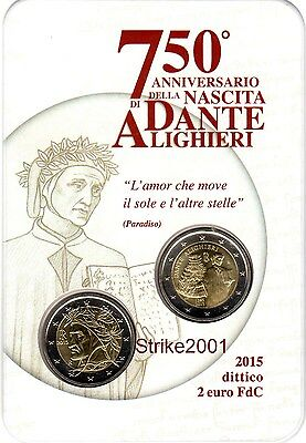 NEW !!! Dittico 2 x 2 EURO ITALIA 2015 DANTE in Folder Ufficiale NEW !!!