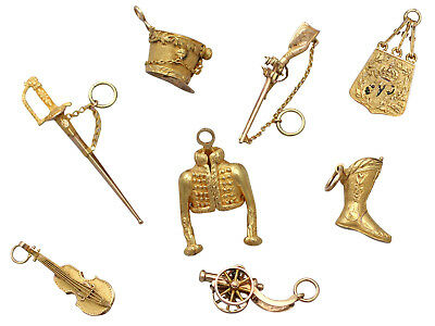 Antique French 18ct & 21ct Yellow Gold Bracelet Charms Napoleonic Hussar 1810s