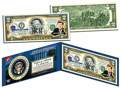 JOHN F KENNEDY * President 1961-1963 * Colorized $2 Bill US Genuine Legal Tender